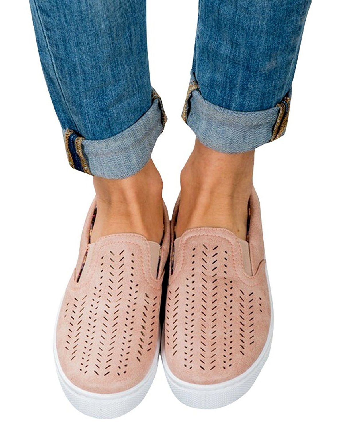 Paris Hill Women's Casual Hollow Loafer Canvas Flats Shoes Lpink US8