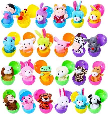 24 trozos de huevos, divididos en 6 colores vivos (naranja, amarillo, verde, azul, púrpura y rosado)