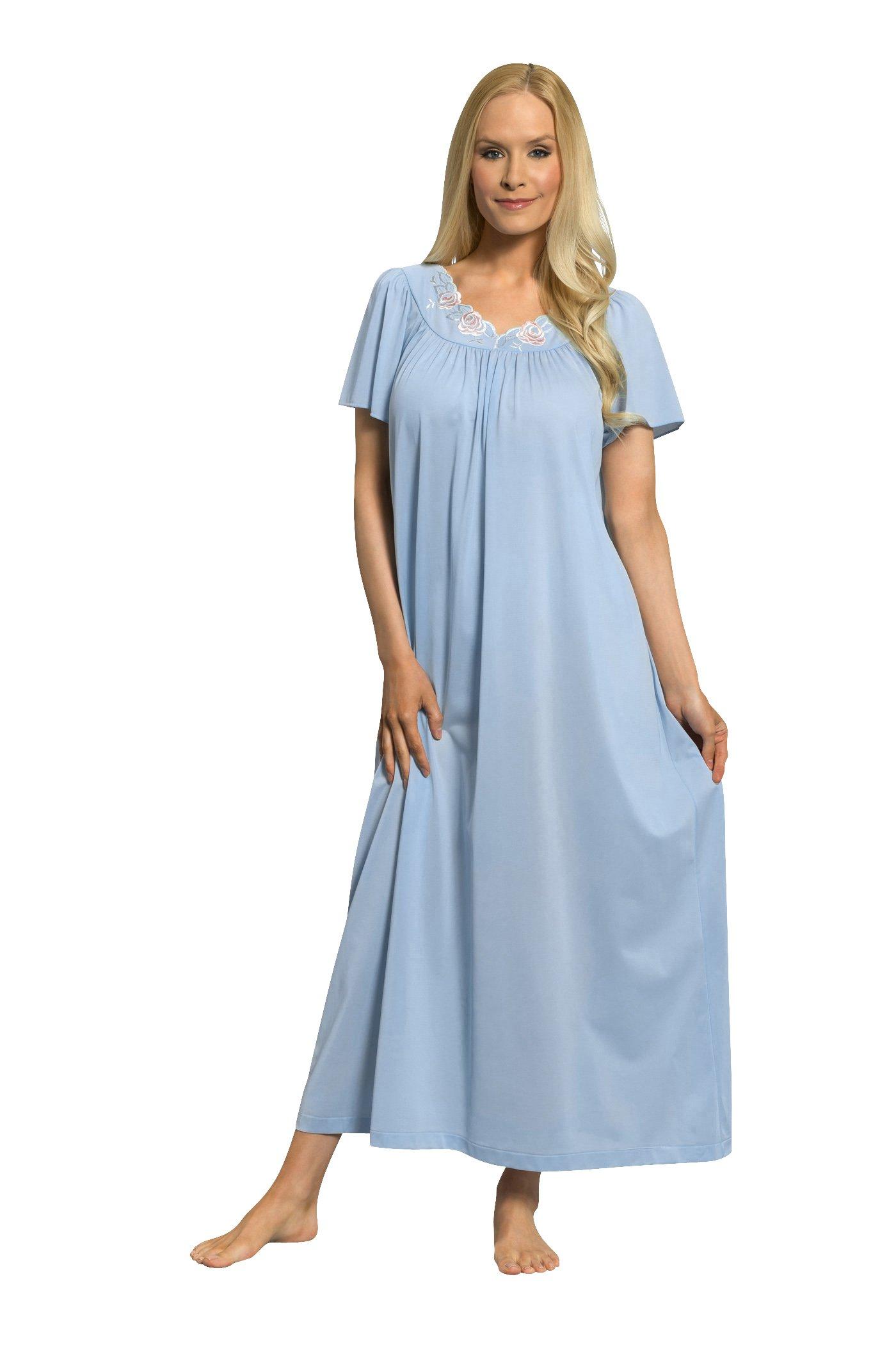 39997b3215ea Shadowline Women s Petals 53 Inch Short Flutter Sleeve Long Gown product  image