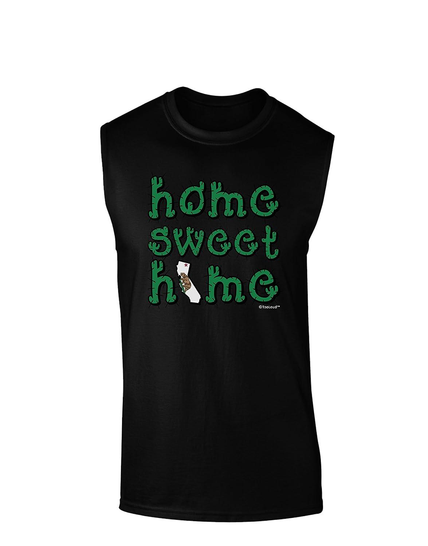 California TooLoud Home Sweet Home Cactus and State Flag Dark Muscle Shirt