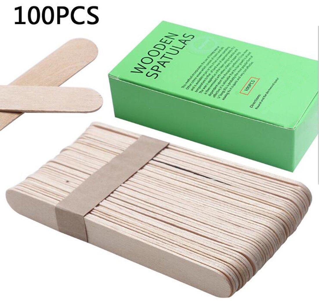1Box 100PCS 5.9''/15cm Wooden Spatulas Hair Removal Mask Stick Apply Wax Rod For Ice Cream Salon Applicator Mask Spatulas Salon Applicator