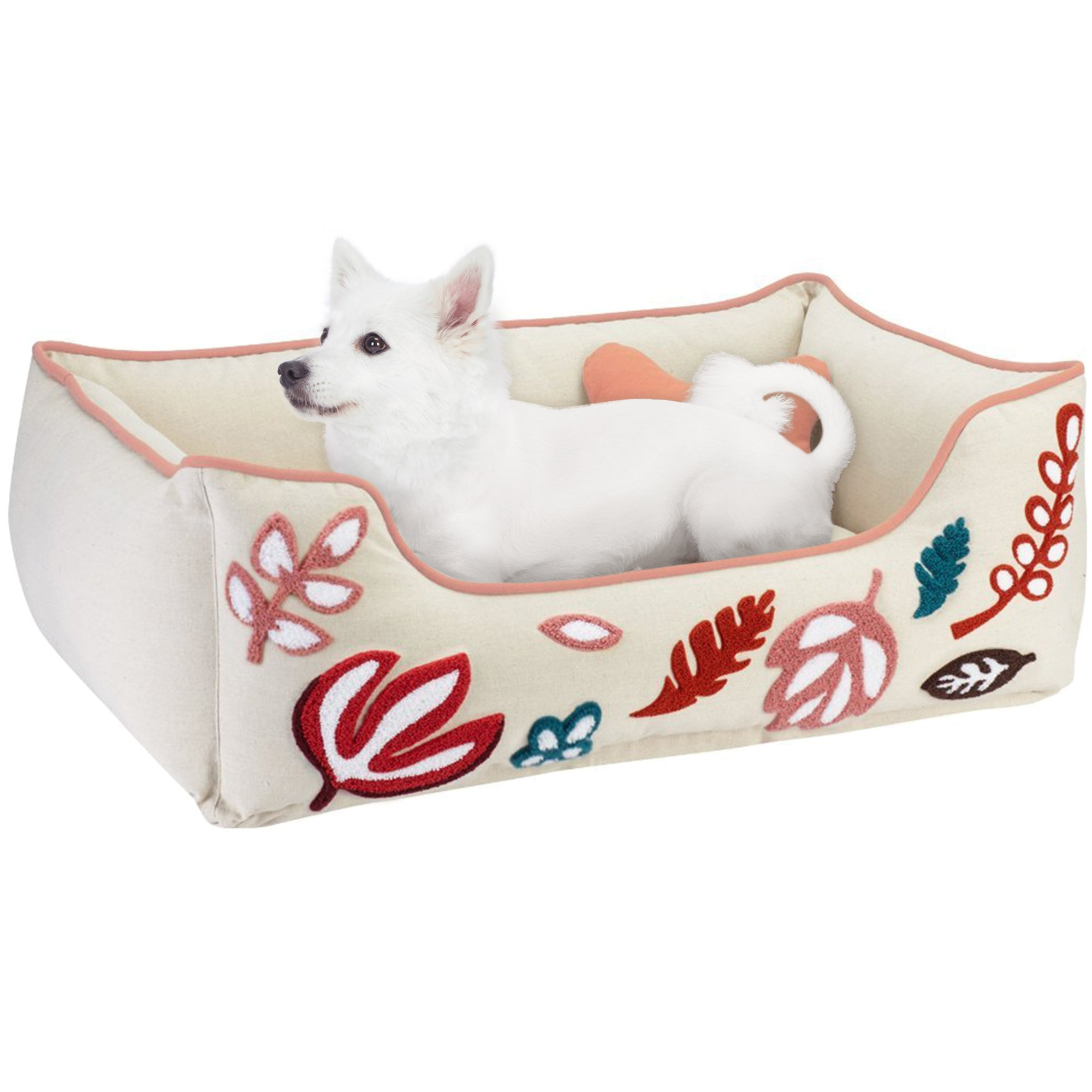 dog bolster fur with pin faux bed cover removable