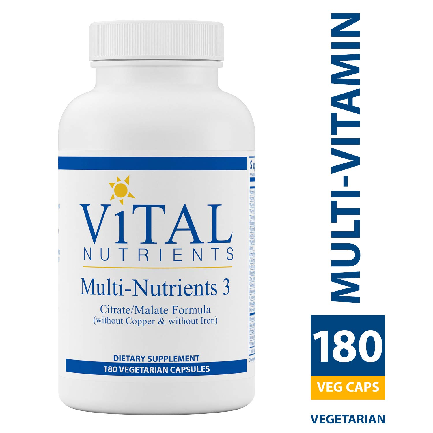 Vital Nutrients – Multi-Nutrients 3 – Citrate Malate Formula Without Copper or Iron – Multi-Vitamin Mineral with Potent Antioxidants – Gentle Bioavailable Form – 180 Vegetarian Capsules per Bottle