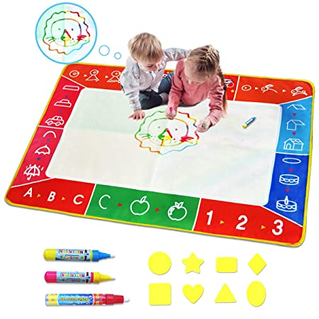 Review Meland Large Water Doodle Mat Colorful 39.4 X 27.5 Inch Magic Water Drawing Mat Pad with 3 Water Pens and 8 Molds, Kids Educational Travel Toy Gift for Boys Girls Toddlers Age 2 3 4 5 6, Multicolor