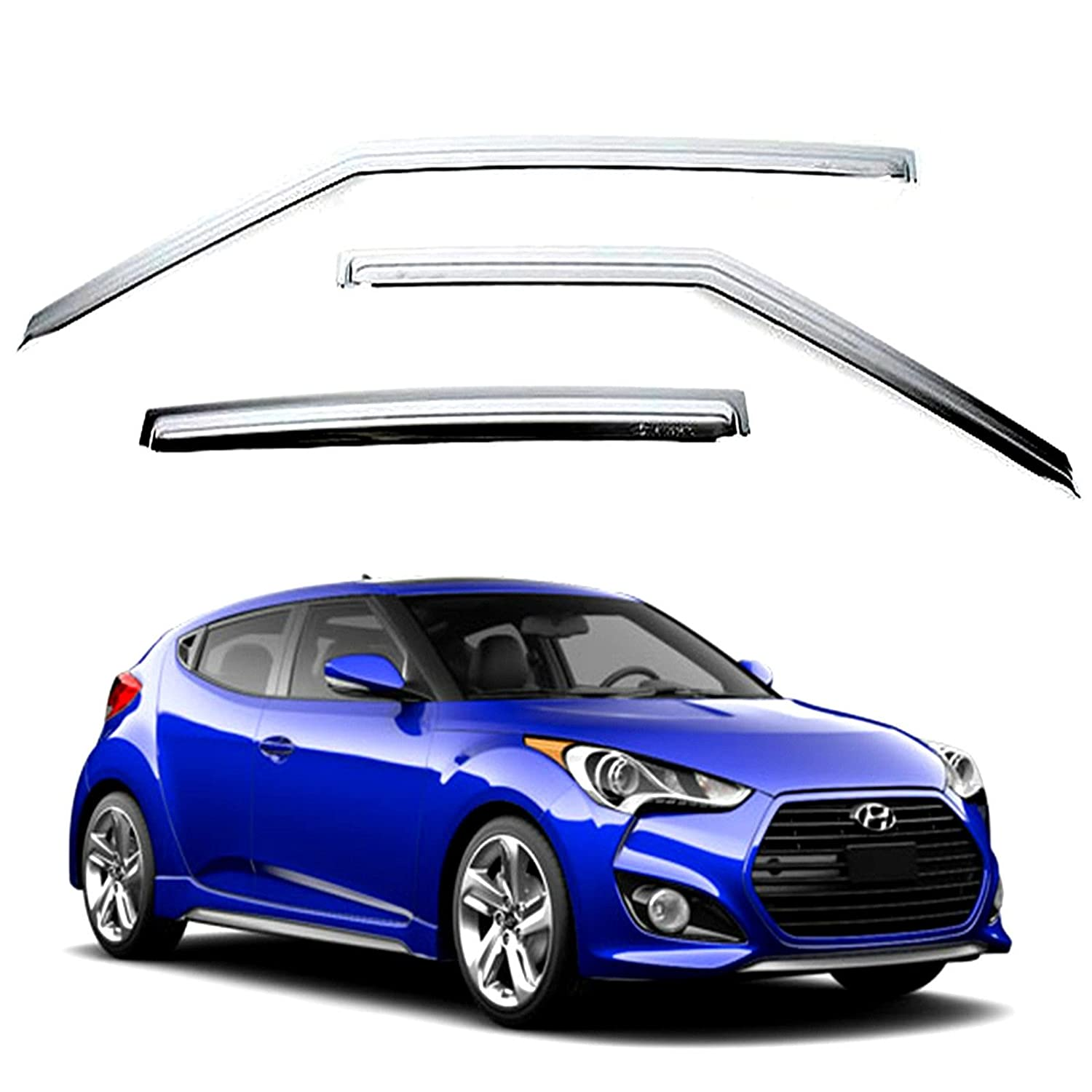 Amazon.com: Chrome Sun Visors Vent Shade/Rain Window Guards for 2011 2012 2013 2014 Hyundai Veloster: Automotive