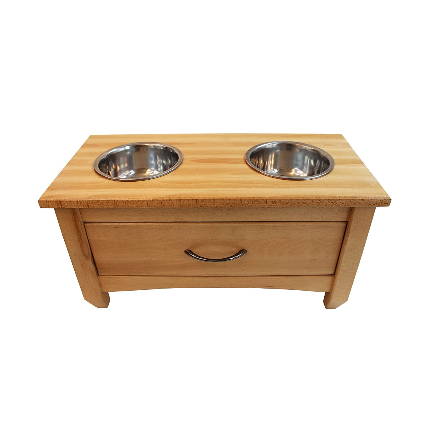 Obique Pets Collection Wooden Raised Double Bowl Feeding Station With Drawer for Storage, Natural Large (30 cm High)