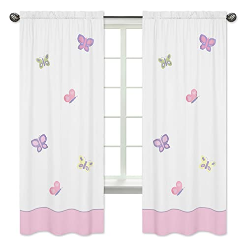 Pink and Purple Butterfly Window Treatment Panel – Set of 2