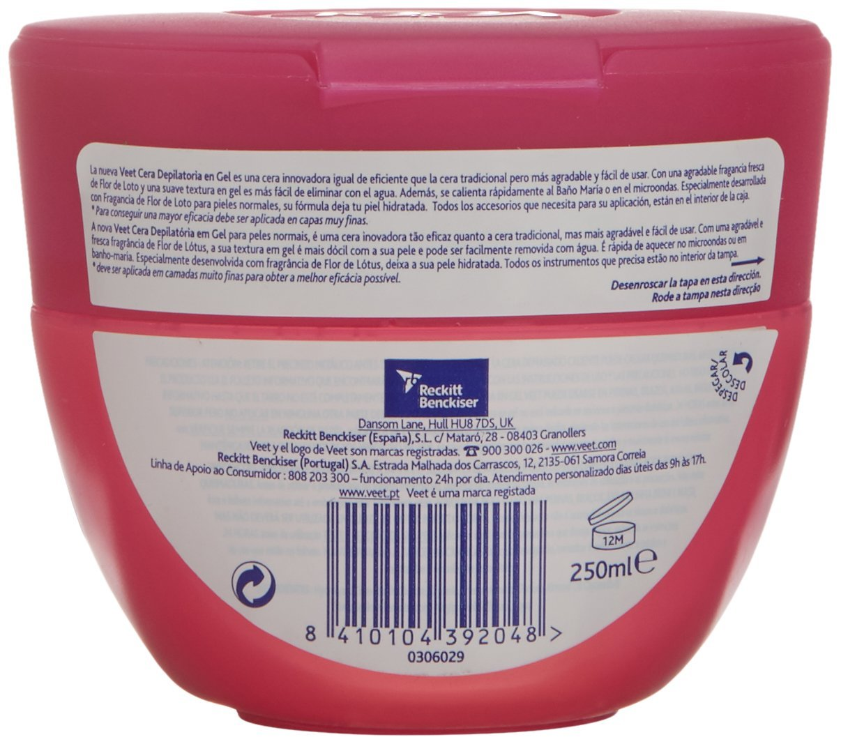 Veet Cera Depilatoria en Gel Flor de Loto Piel Normal - 250 ml: Amazon.es: Belleza