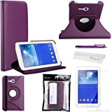 Foxnovo 4-en-1 giratoria 360 grados Stand PU Funda Flip Set para Samsung Galaxy Tab 3 Lite 7.0 T110 T111 (púrpura)