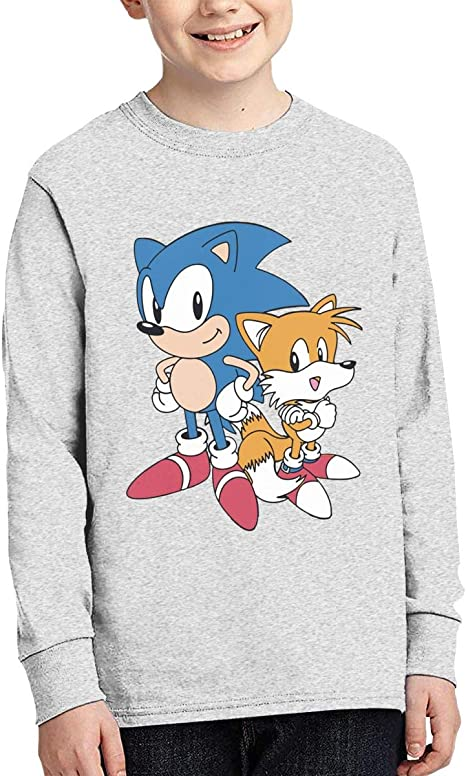 So-nic-The-Hedgehog Long Sleeve T-Shirt 100/% Cotton Crew Neck Comfort Tee for Boys Girls