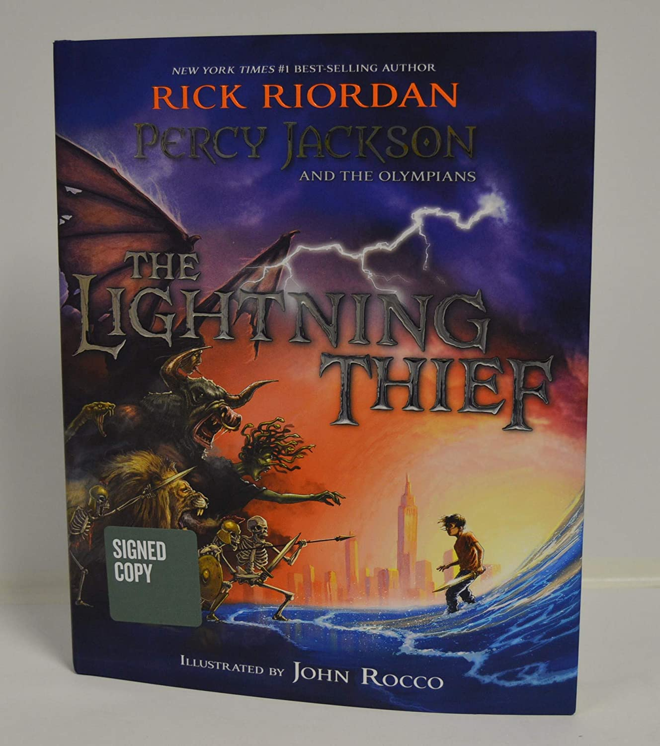 RICK RIORDAN signed Percy Jackson and the Olympians The Lightning Thief Illustrated Edition (Hardcover) Book FIRST EDITION (Exclusive Apollo's Puzzle Collection Inside)