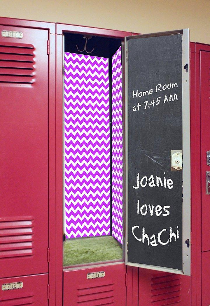 Back to School Magnetic Locker Wallpaper - Chevron (Light Purple w/Chalkboard)