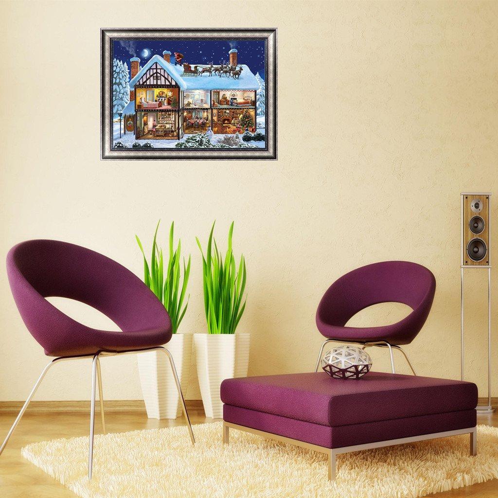 Bordado 5D con Diamantes S-TROUBLE Cuadro Decorativo para casa de Navidad 40 x 30 cm para Manualidades