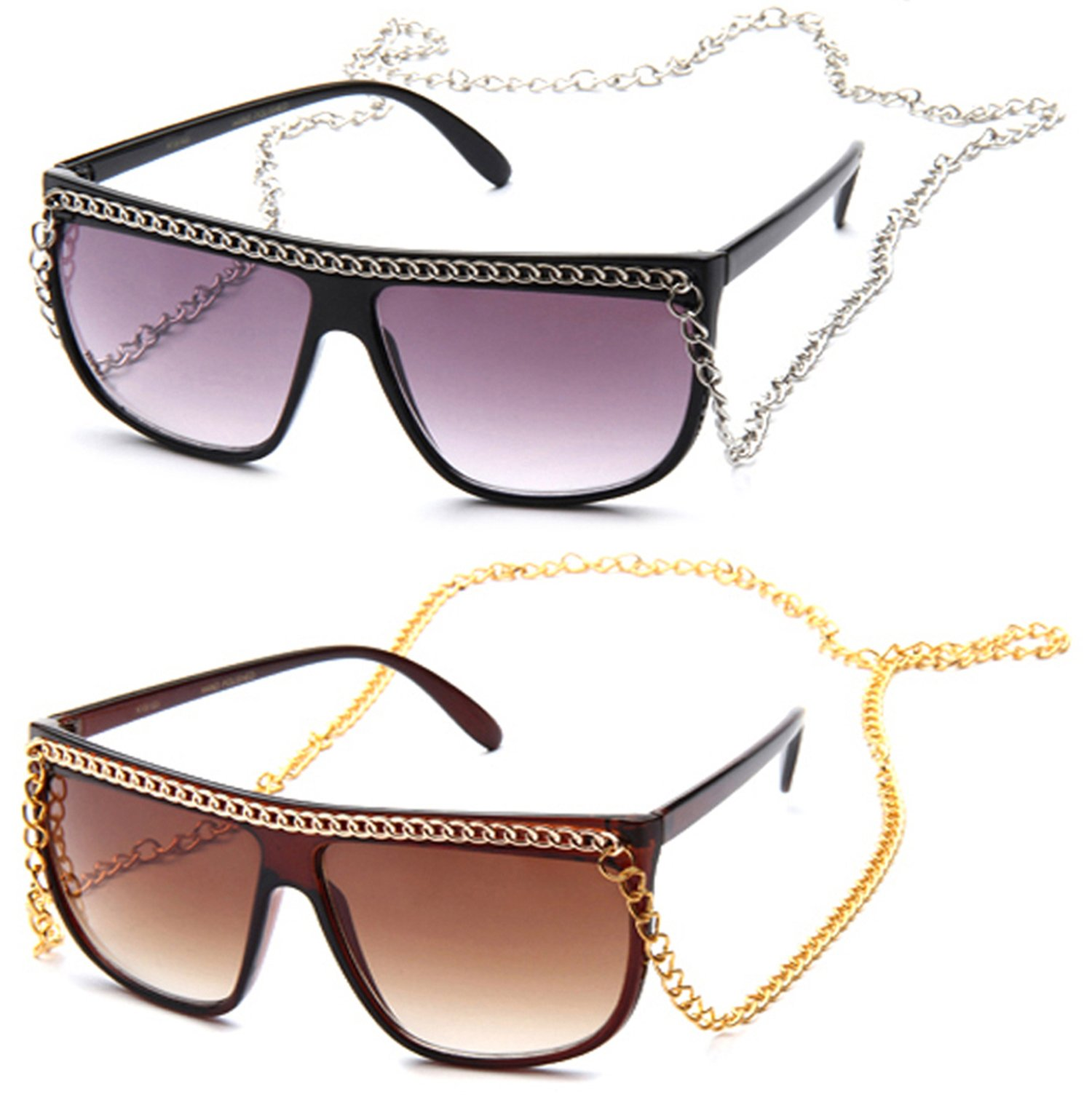 Newbee Fashion- Women Flat Top Oversized Retro Chain Sunglasses with Metal Chain on Top & Around Neck ( Dark & Neon Color to Choose from)