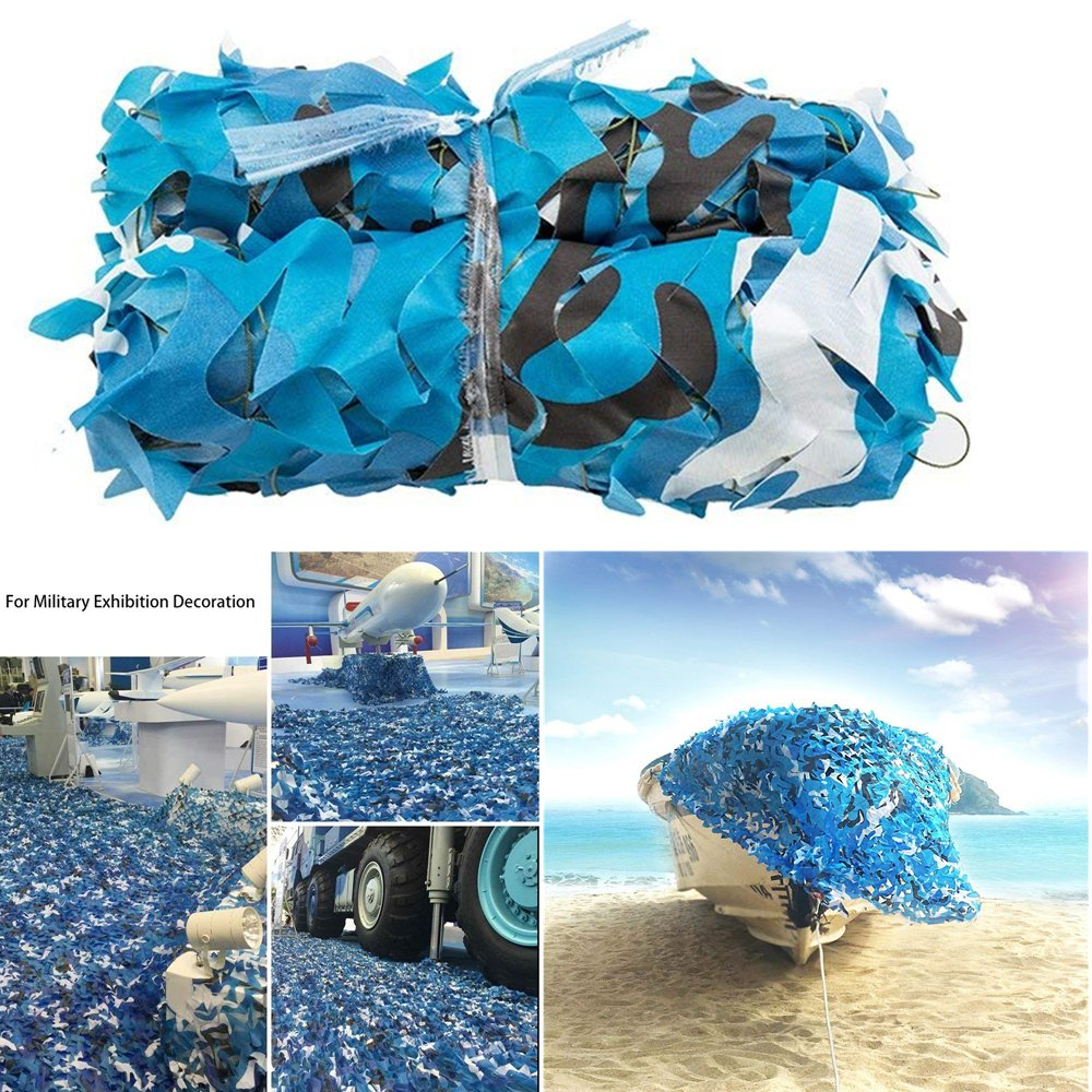 elecfan 10 ft x 10 ft Camo Net White & Blue, Outdoor Camouflage Netting Military, Camping Hunting Shooting Blind Sunscreen Camo Netting Watching Hide Party Decorations