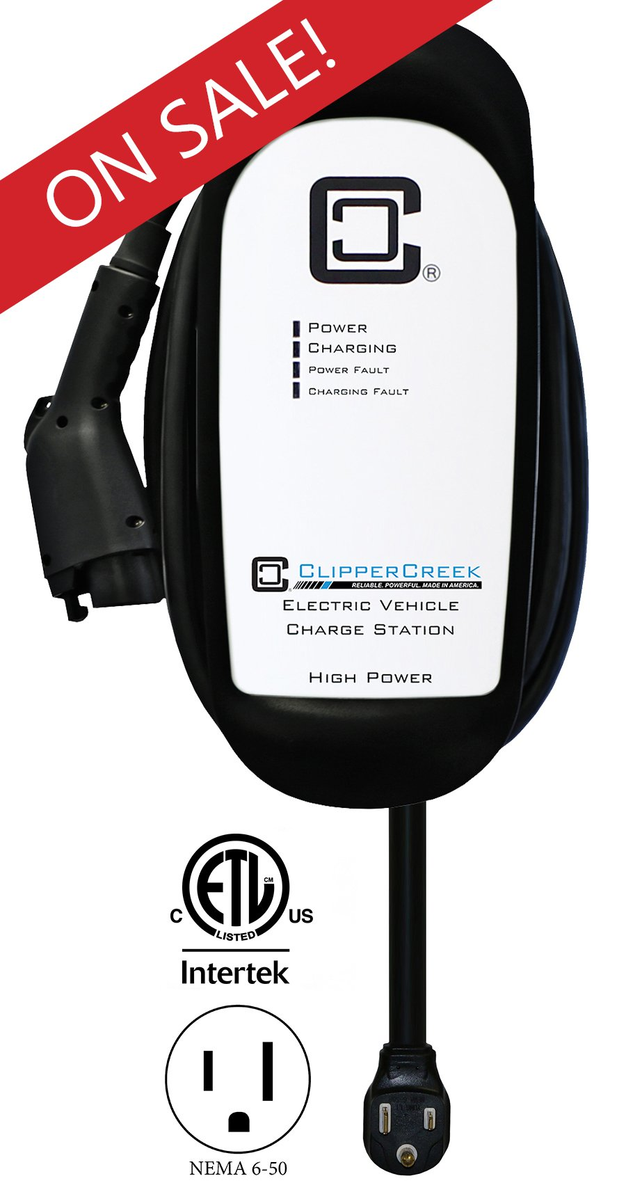 ClipperCreek HCS-50P, Plug-in 240V, 40A, EV Charging Station, 25 ft charging cable, NEMA 6-50, SAFETY CERTIFIED, Made in America. SAVE $200 NOW!