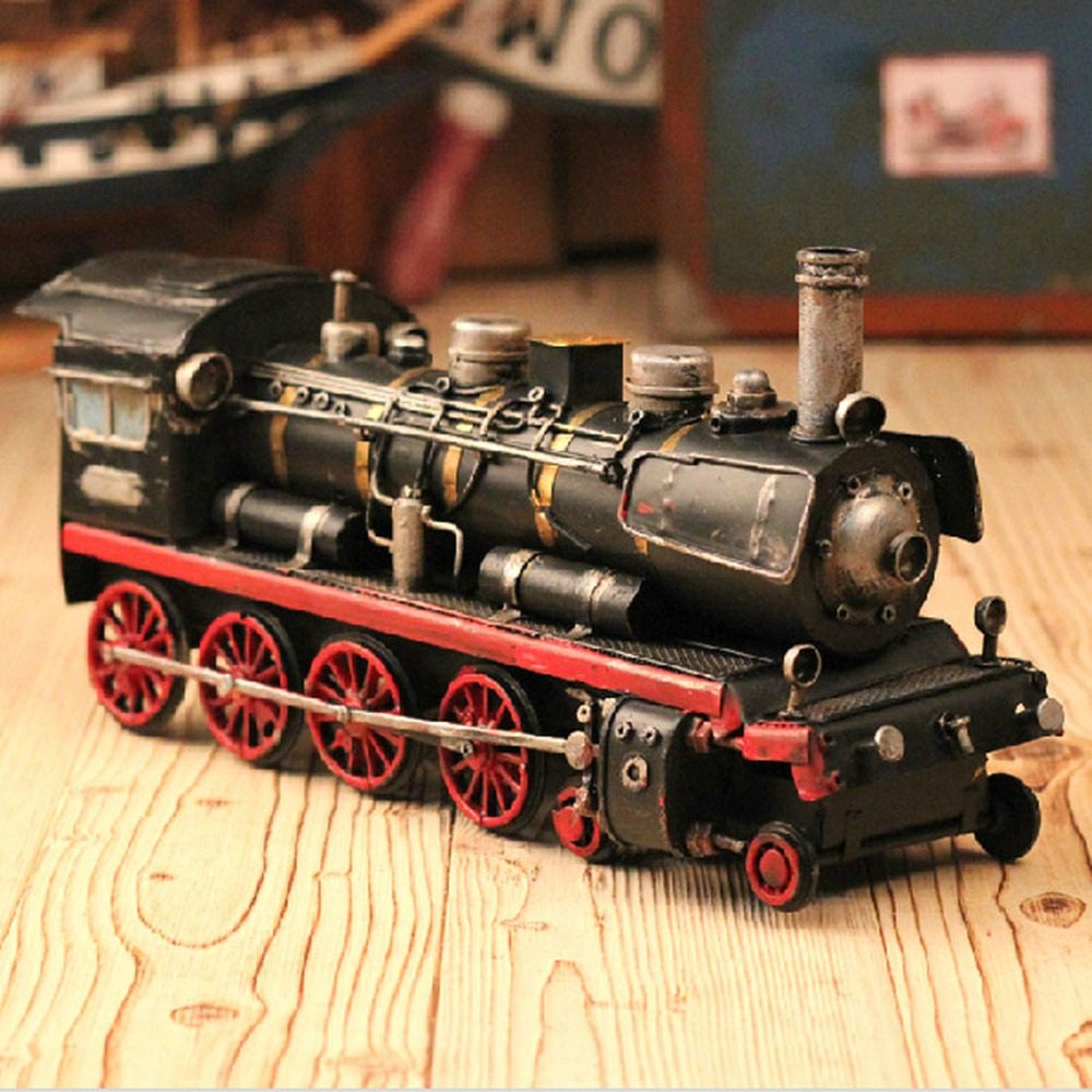 BWLZSP 1 PCS Steam locomotive model car car model ornaments window photography props retro iron ornaments gifts AP5241631