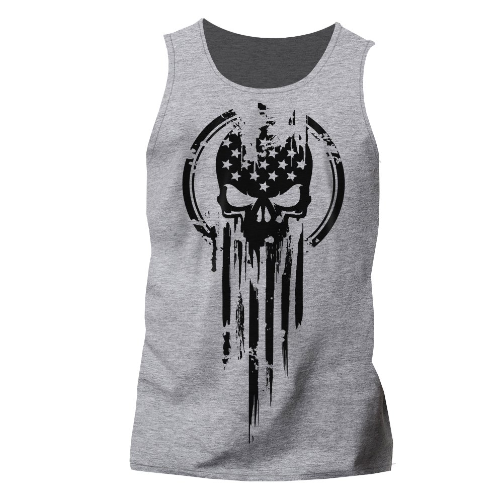 Dion Wear American Warrior Flag Skull Military T-Shirt X-Large Heather Gray