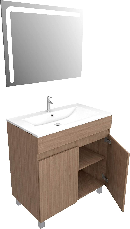 STARTED pack 17 Ensemble Meuble de salle de bain chene celtique 80cm sur pied miroir led integree vasque ceramique blanche
