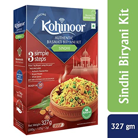 Kohinoor Authentic Basmati Biryani Kit, Sindhi, 327g