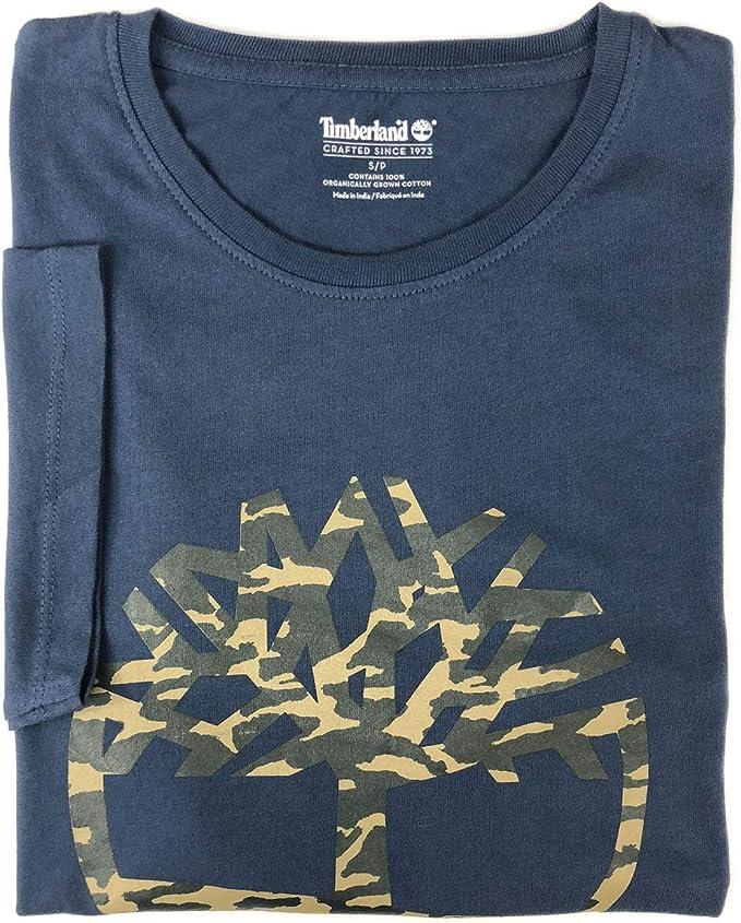 Timberland Men's Short Sleeve Camouflaged Tree Logo Cotton T Shirt