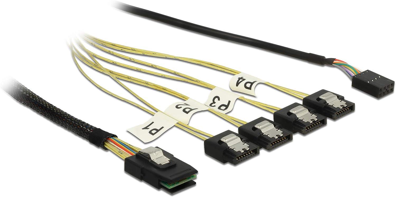 Sideband 1 m Metall DeLock Kabel Mini SAS SFF-8087  4 x SATA 7 Pin