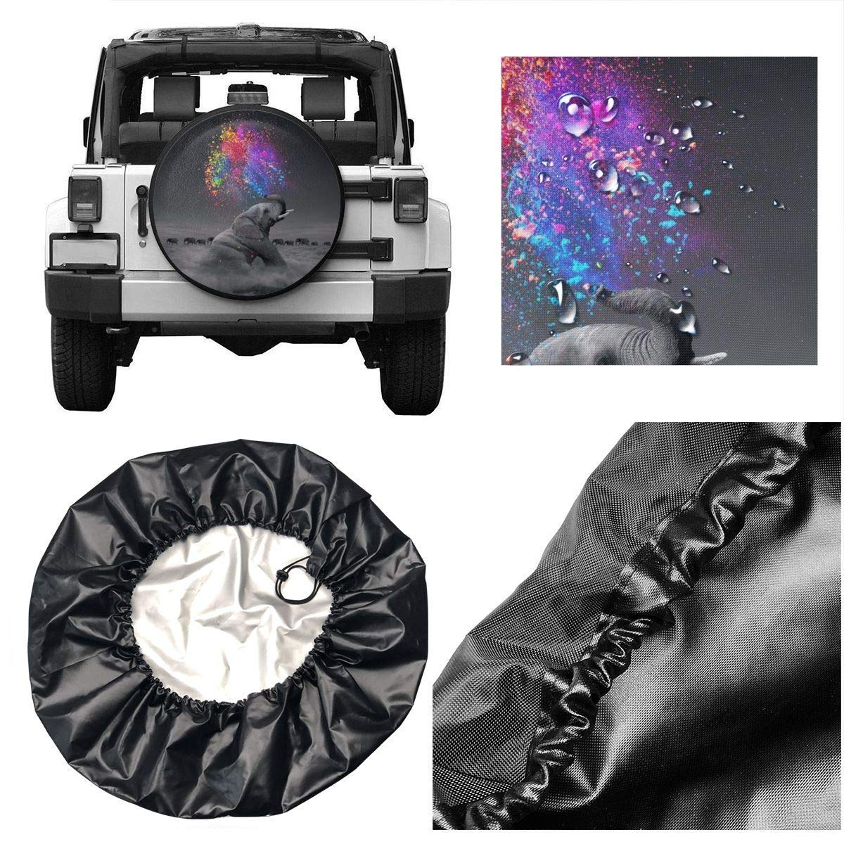 Fits Entire Wheel Xhayo Elephant Wheel Cover Wheelcover Spare Tyre Tire for SUV,RV,Trailer,Truck Wheel