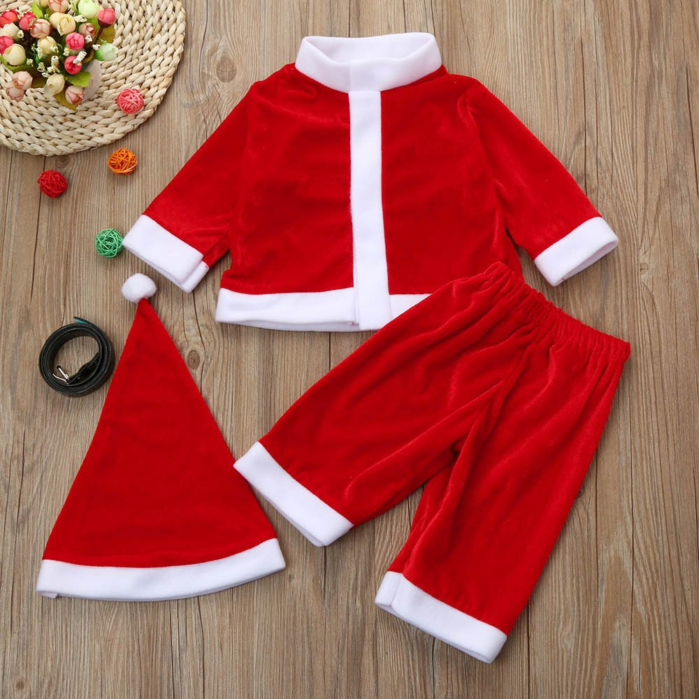 eb65d4133fd0 Amazon.com: Christmas Santa Claus Party Costume Toddler Baby Boys Girls  Blouse +Pants+Hat Outfits Set (9-10 years old, Red): Beauty