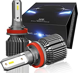 Nuvision Pair H8 / H9 / H11 Bulbs 20000 Lumens 200W LED Headlight High/Low Beam Fog Light Conversion HID Kit with Fan