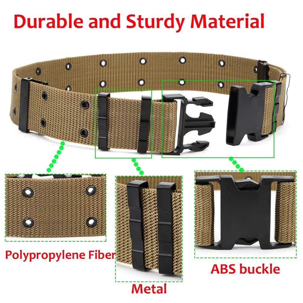 Malloom Espesor exterior al aire libre Táctico Cinturón Hombres Deportes al aire libre Militar Táctico Cintura de nylon Cinturón (Caqui)