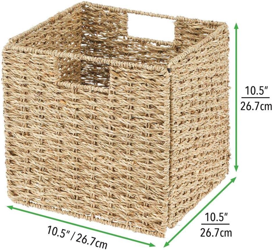 mDesign Juego de 2 cajas de almacenaje Ideales para estanter/ías cuadradas Cajas organizadoras plegables hechas de jacinto de agua color bamb/ú Cestas de almacenaje con patr/ón trenzado