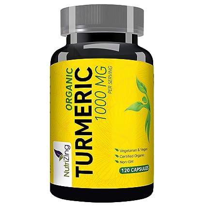 Suplemento de cúrcuma orgánica de NutriZing ~ 120 cápsulas ~ Extracto de Curcumiña Natural ~ Contiene