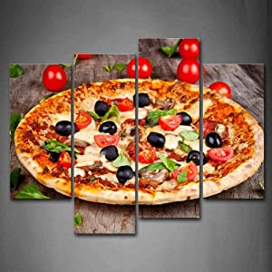 First Wall Art - Pizza With Tomatoes And Leaves Wall Art Painting The Picture Print On Canvas Food Pictures For Home Decor Decoration Gift
