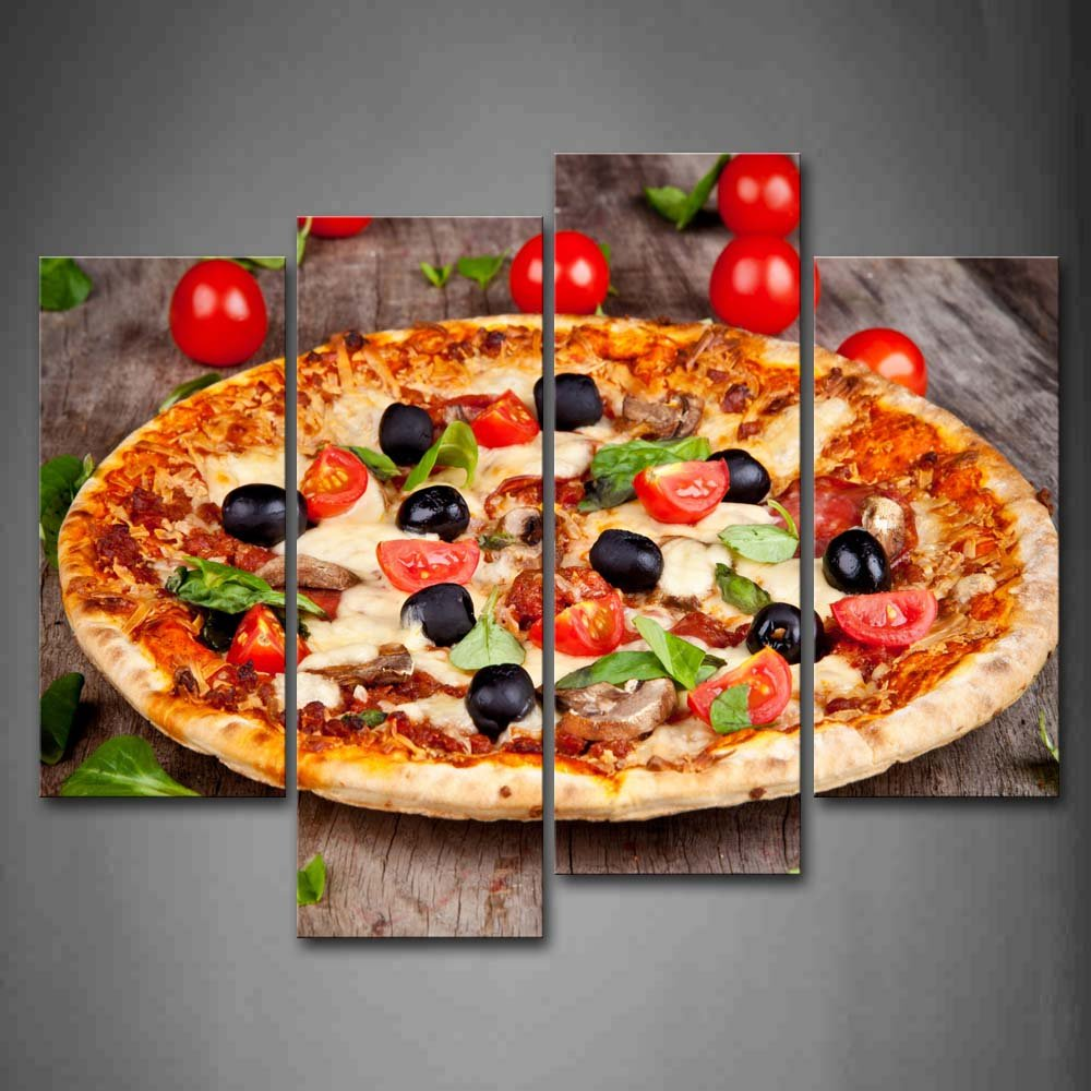 First Wall Art - Pizza With Tomatoes And Leaves Wall Art...
