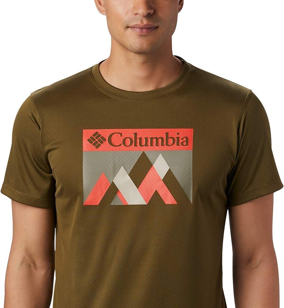 Columbia Zero Rules Camisa Técnica De Manga Corta con Estampado, Hombre, Verde (New Olive Peak Fun), XL: Amazon.es: Deportes y aire libre