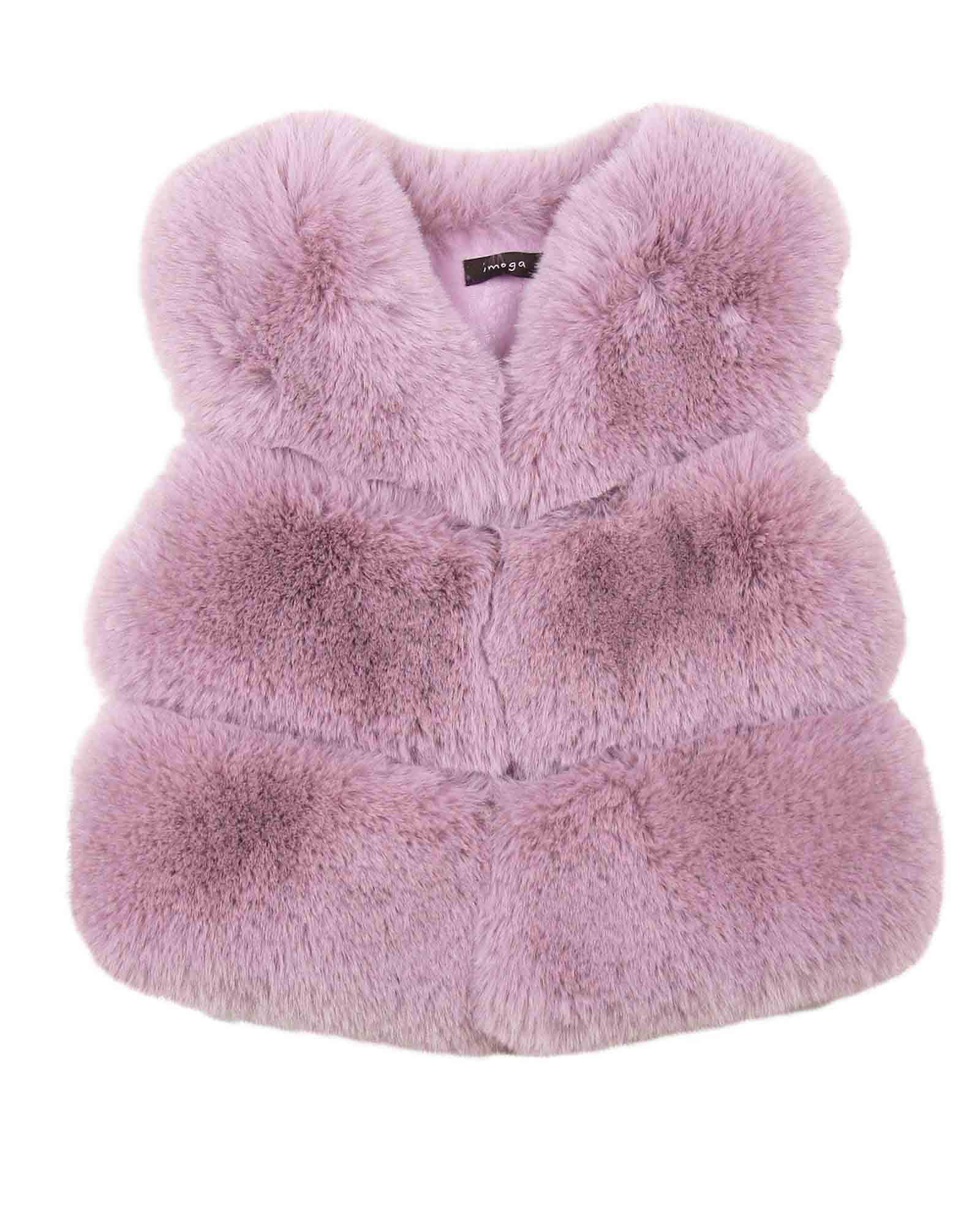 Imoga Girl's Faux Fur Puffer Vest Gia, Sizes 6-14 - 8 Pink by Imoga