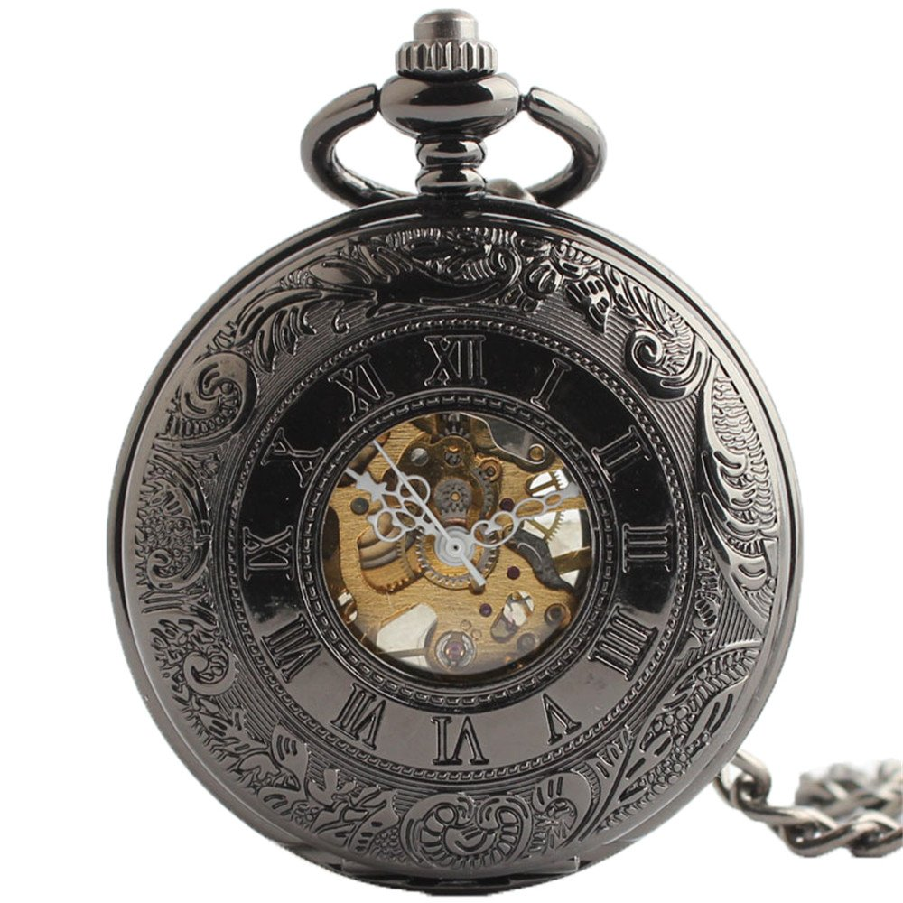 Zxcvlina Classic Smooth Exquisite Black Retro Pocket Watch Boutique Men's and Women's Mechanical Pocket Watch with Chain Suitable for Gift Giving