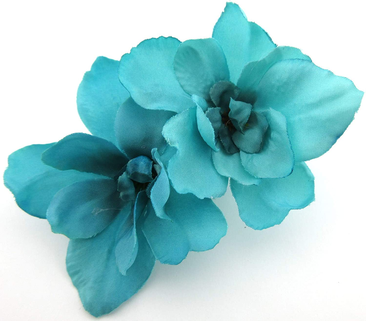 Double Turquoise Apple Blossom Silk Flower Hair Clip with Teeth
