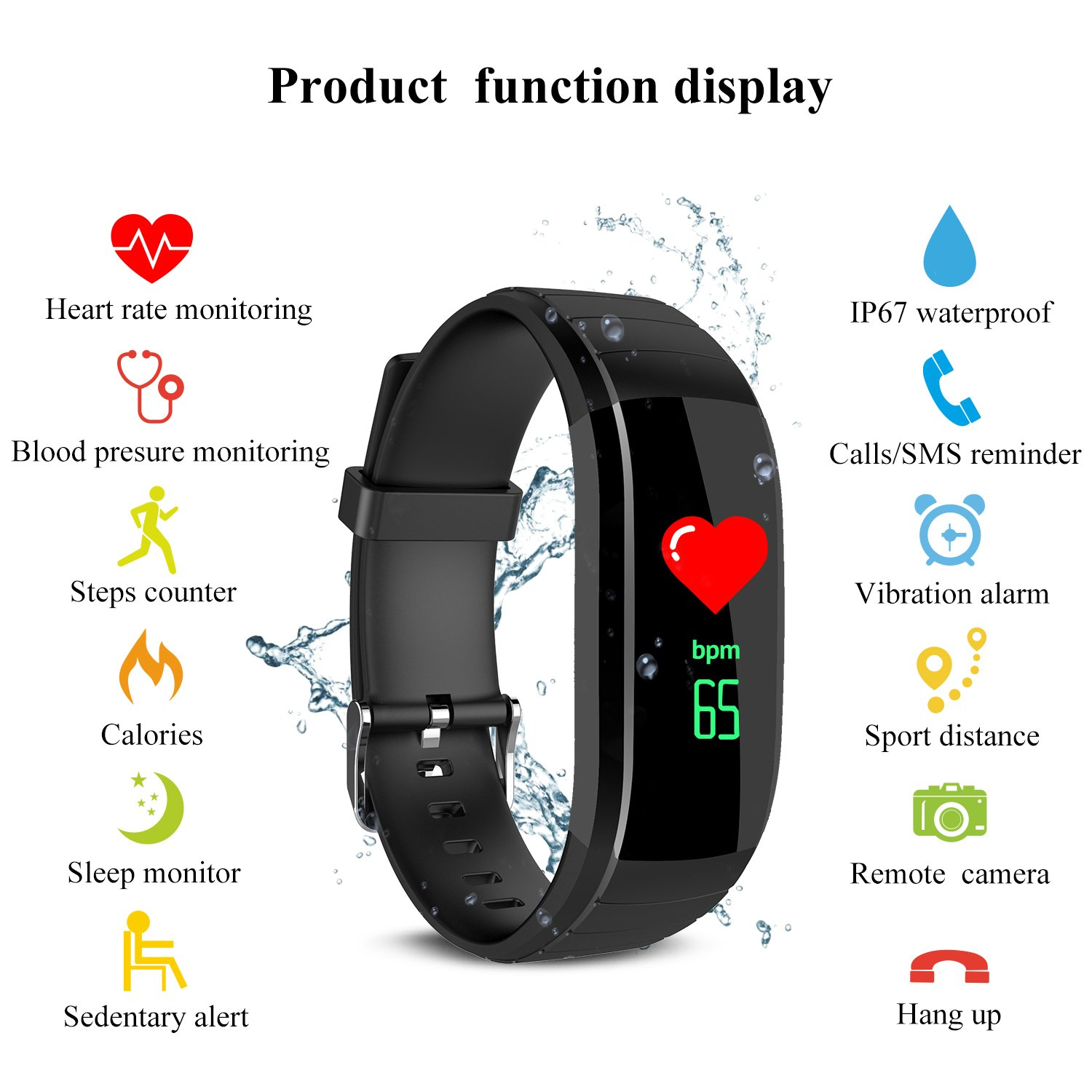 ARONTIME Fitness Tracker Smart Bracelet with Heart Rate Monitor Activity Tracker Pedometer with Sleep Monitor Smartwatch For Android Ios Smartphones