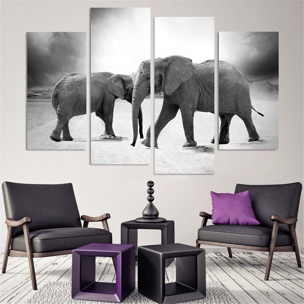 Amazon.com: Wieco Art Elephant Extra Large 5 Panels Modern Stretched ...