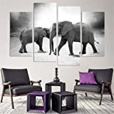 Amazon Price History for:4 Piece Home Decor Oil Painting Two Elephants HD Print on Canvas Wall Art Picture for Living Room(No Frame)