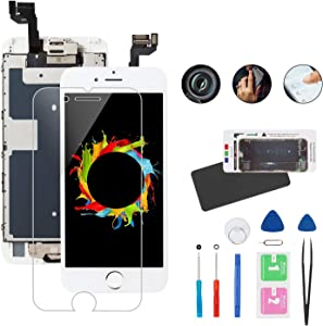 for iPhone 6S Screen Replacement 4.7 inch White 3D Touch Digitizer LCD Display Replacement(A1633, A1688, A1700) with Home Button, Front Camera, Proximity Sensor, Ear Speaker, Full Assembly Repair Tool