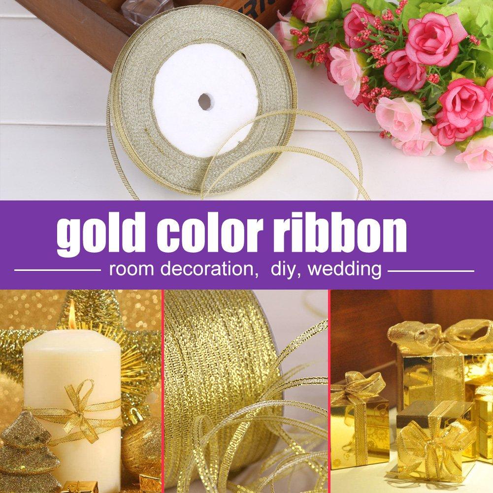 Aufee Geschenkpapierb/änder 25 Yards//Rolle 7 Mm Gold//Silber Satinband Party Home Hochzeitsdekoration Geschenkpapierband Gold
