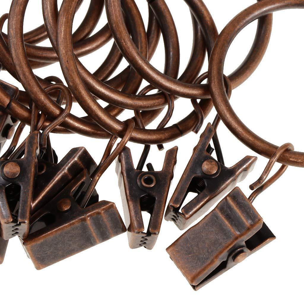 Vintage Draperie D/écorative en M/étal R/ésistant Bronze 25mm LOVIVER Paquet de 12 Anneaux avec Pinces pour Rideaux