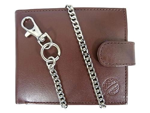 Roamlite Cartera de Hombre de Cuero - Billetera con Cadena Llavero de Cinturón de 43 cm