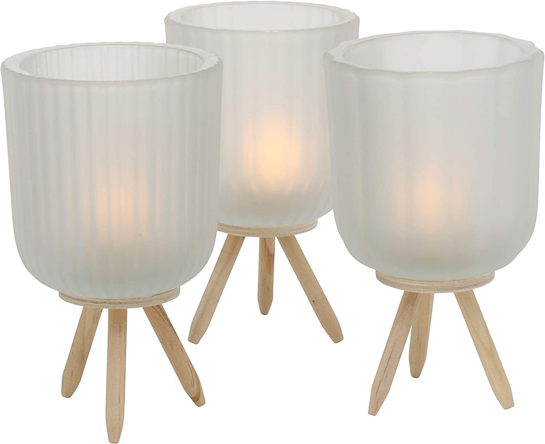 Boltze 3 x Windlicht Danteo Glas Wei/ß H/öhe 15 cm Tischdeko Geschenk Beleuchtung
