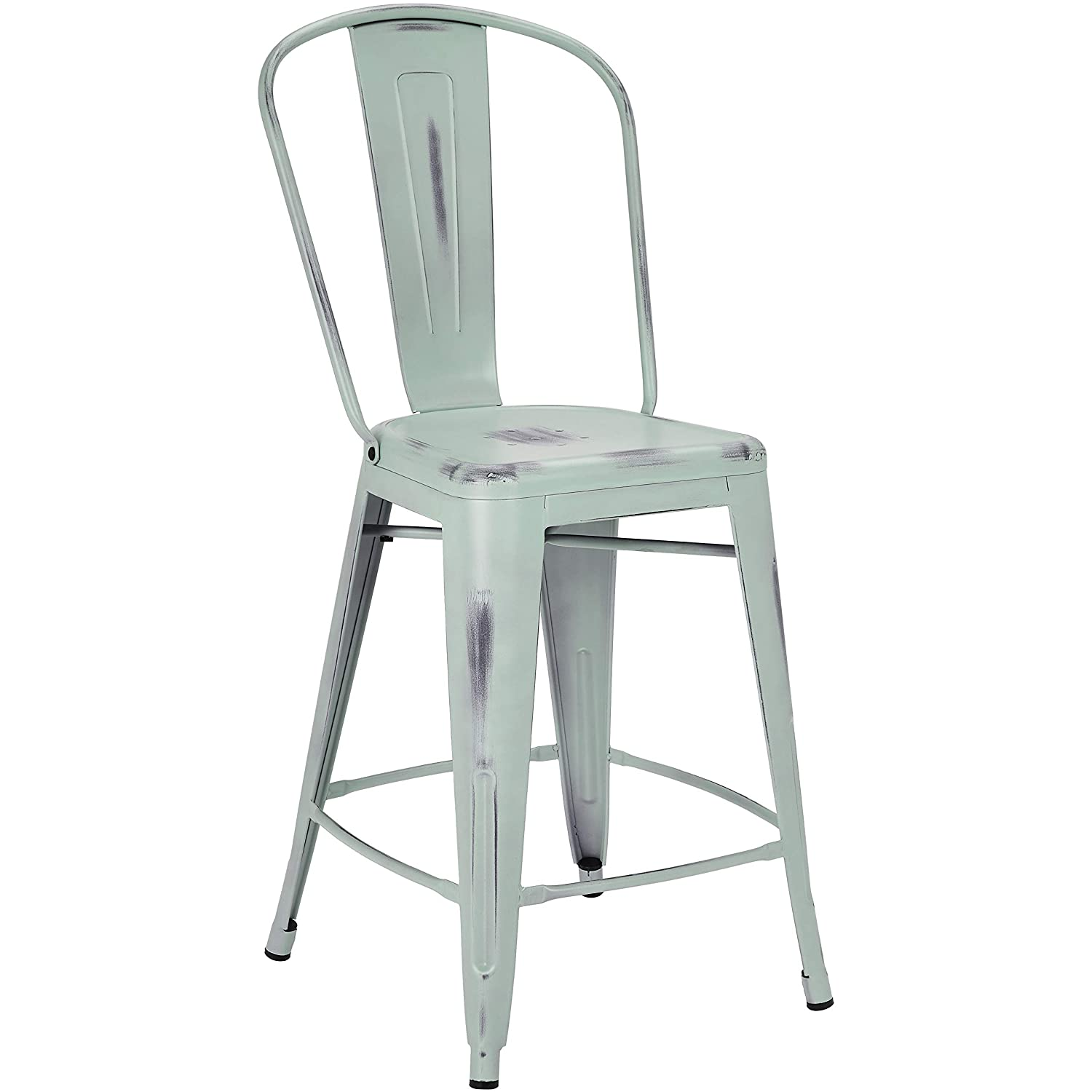 Set of 4 Distressed Boutique Blue Pioneer Square Corliss 24-Inch Counter-Height Metal Stool with Back Rest