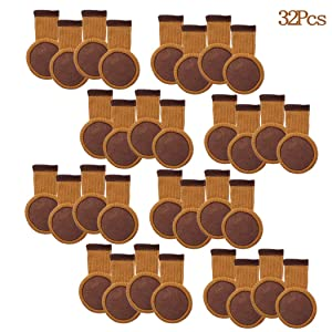 32Pcs Chair Leg Socks with Felt Pads, MERYSAN Elastic Knitted Furniture Booties, Thick Wood Floor Furniture Legs Protectors Pads Covers Caps Set - Avoid Scratches & Noise, Anti-Slip(Brown)