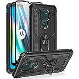 Funda para Moto G9 Play, funda para Moto E7 Plus/Moto G9, con protectores de pantalla de vidrio templado, anillo de metal de