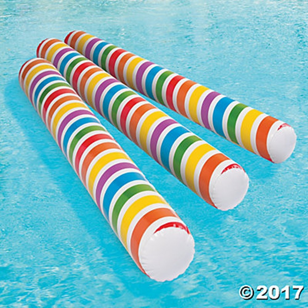 Set of 6 Inflatable 4' Pool Swim Noodles RAINBOW Striped ~ Glows in the Dark